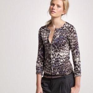 J. Crew Merino Watercolor Leopard Cardigan Sweater